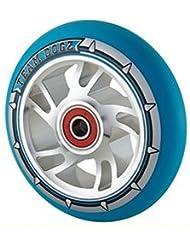 Rueda espiral ABEC 9 88A de poliuretano de Dogz Pro 4, con centro metálico de 100mm, Blue PU Silver Core