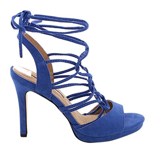 Maria Mare 66329, Brogues Femme Bleu suédé