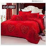 ZGFlhq Hochzeit Vier Stücke Roten Hochzeitszimmer Geschenk 1 8M2 0M Hochzeit Doppelten Betten Ab 1 8 M Bett (6 Meter)