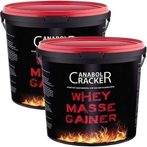 2X Whey Masse Gainer, Eiweißpulver, 3000g Eimer (6000g Gesamt), Erdbeere und Vanille, Protein Shake -