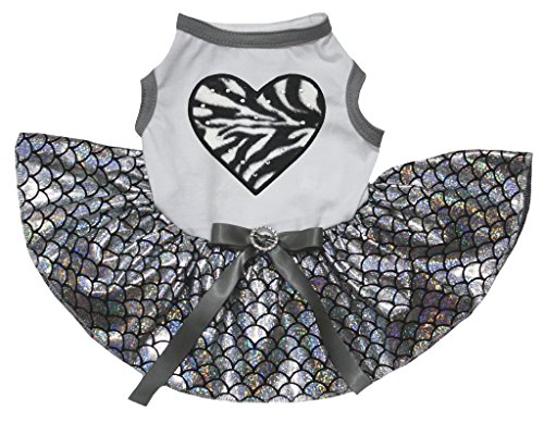 (petitebelle Pet Supply Zebra Herz weiß T-Shirt Silber Maßstab Mermaid Hund Kleid)