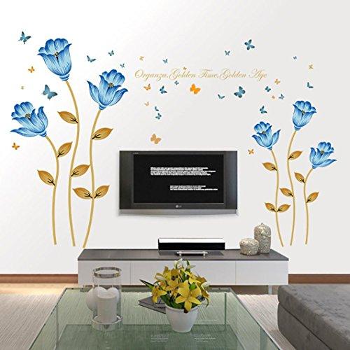 Manadlian Schöne Blau Blumen Wandsticker, Wohnzimmer Schlafzimmer Entfernbare Wandtattoos Wandbilder Wandsticker Wandtattoo Größe: 188*125CM (Mehrfarbig)