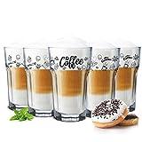 Sendez 6 Kaffeegläser 300ml Latte Macchiato Gläser Teeggläser Cocktailgläser Caipirinha (Mit Löffel)