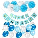 ZhengYue Geburtstag Dekoration Happy Birthday Girlande mit Luftballons Latexballons und Pom Poms Papierblume für Geburtstag Dekoration - Blau