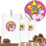 """Einhorn Adventskalender für Mädchen mit 24 blickdichten Papiertüten in Weiß (9 x 15 cm) und 24 süßen Aufkleberzahlen """"Unicorn"""" - zum Basteln und Befüllen"""