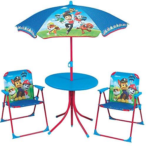 FUN HOUSE Pat Patrouille Salon de Jardin pour Enfants (1table, 2 chaises Pliantes et 1 Parasol), Acier, Bleu, 79x1x51 cm