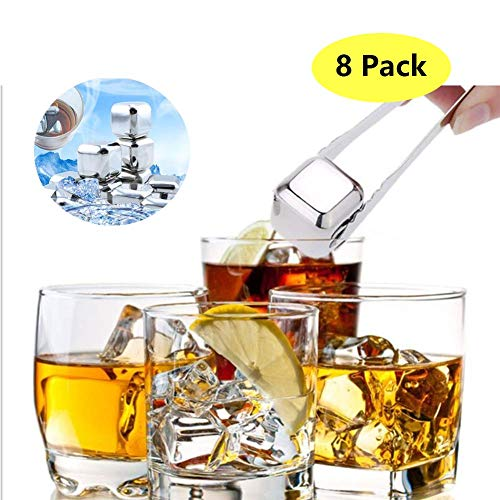 CWeep Whiskey Stones Ice Cubes Stainless Steel Reusable Metal Chilling Frozen Rocks Trays BPA Free (8PCS) Metal Tray