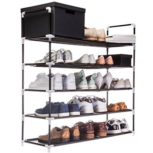 Goods & Gadgets XXL Schuhregal 91 x 88 x 30 cm Schuhablage mit 5 Ablagen für 25 Paar Schuhe als Schuhschrank und Schuhständer - schwarz