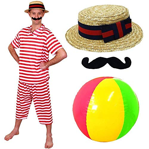Men's Victorian Bathing Suit Costume with Tash, Boater Hat and Beach Ball. Sizes S to XL.
