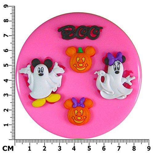 Halloween Mickey und Minnie Maus gekleidet als Geister mit Kürbisen SilikonForm für Kuchen Dekorieren, Kuchen, kleiner Kuchen Toppers, Zuckerglasur, Fondantform, Sugarcraft Werkzeug durch Fairie Blessings (Maus Gekleidet)