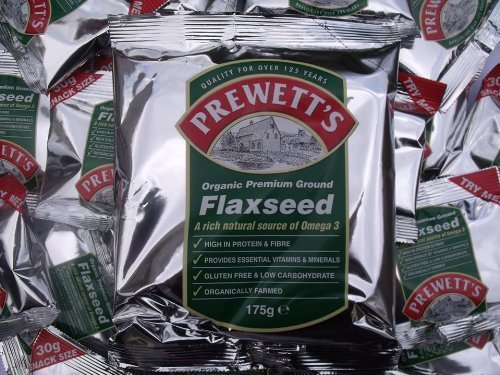 FLAXSEED - ORGANIC GROUND. 5 x 175g packs by PREWETTS HEALTH FOODS LTD