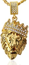 High Quality ''Lion King'' 18kt Gold Plated Never Fade Necklace for Boys Mens