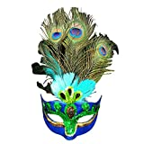 Eizur Maskerade Maske Aristokratische Pfau Gesichtsmaske Kunst Muster für Halloween Party Karneval Kostüm Cosplay Requisiten Fasching Party Verrücktes Kleid Ball