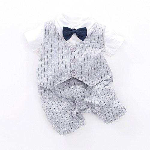 Fairy Baby Baby Outfits Jungen Smoking Anzug Kurze Abendkleider Festliche babymode Kleidung mit Fliege Strampler, Grauer Streifen, 12-18 Monate - 6