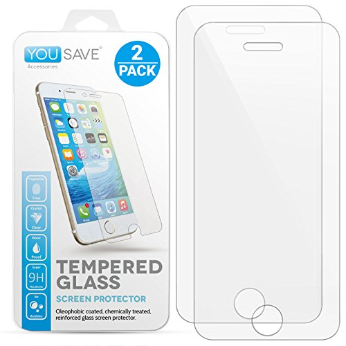 Yousave Accessories® Kompatibel Für iPhone SE / 5S / 5C / 5 2 - Pack Panzerglas Kristallklare Gehärtete Glas Schutzfolie (Ultradünn 0,3mm / 9H Härtegrad) 3D Touch Kompatibel - Doppelpack (Touch-screen Handy Sprechen, Nur)