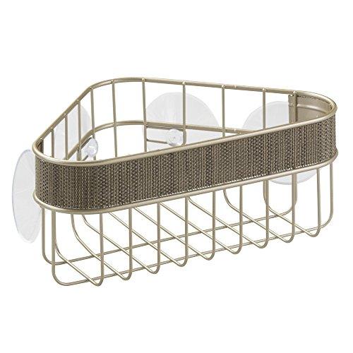 InterDesign Twillo Estante rinconero con ventosas | Cesta de baño inoxidable para ducha y bañera | Estanterías de baño sin taladro | Metal color champán
