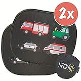 HECKBO Selbsthaftende Auto Sonnenblende - Sonnenschutz für Kinder [2 Stück] (ohne Saugnäpfe) | Feuerwehr, Traktor, Polizei & Krankenwagen | Kinder Sonnenblende | 44x36cm | inkl. gratis Tasche