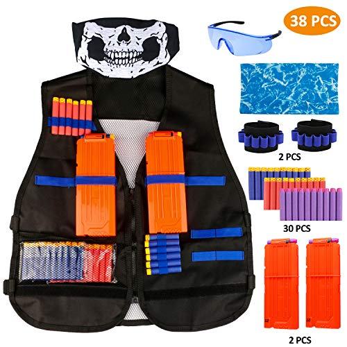 RATEL Kit de Chaleco Táctico para Niños, 38pcs Traje de chaqueta para Nerf N-Strike Elite Series con 30 piezas de espuma Dardos + 2 Quick Reload Clips + 1 Gafas protectoras + 2 Máscara + 2 muñequera