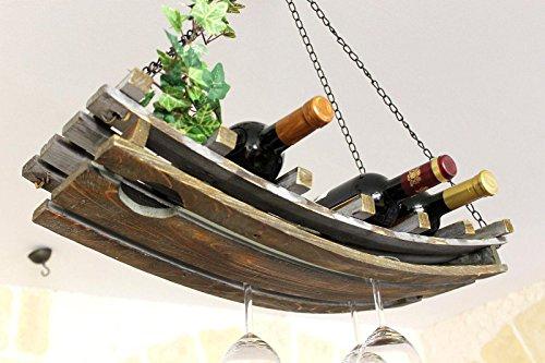 DanDiBo Weinregal 5089 Deckenregal aus Holz 65 cm Hängeregal Flaschenhalter Flaschenregal mit Glashalter Decke