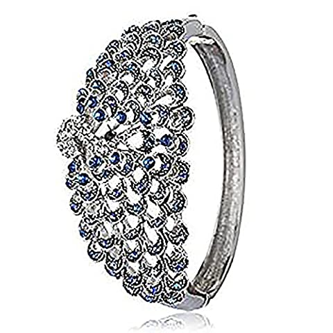 Gorgeous Peacock Design Cuff Bangle in Swarovski Crystals Elements Stunning Christmas Gift for Her - Blue, Janeo Bangles &