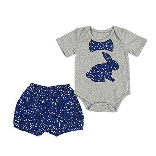 by Kleinkind Kleidung Set Kurzarm Kaninchen Body Bunny Strampler Shorts (Color : Gray, Size : 12-18M) ()