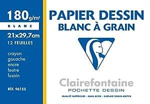 Clairefontaine 96155 Pochette de 12 feuilles papier dessin A4 180 g Blanc