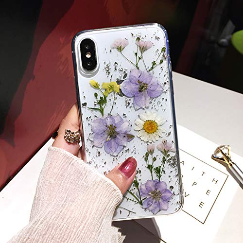 Bakicey iPhone Xs Hülle, iPhone Xs Handyhülle Getrocknete blumen Kristall Gel Schutzhülle Ultradünn Handgefertigt Immerwährende Blume Bumper Case Cover Schale Schutz hülle für iPhone Xr/iPhone X(L)
