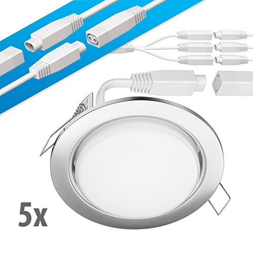 ledscom.de LED Decken-Einbaustrahler Ruba Chrom matt GX53 6,3W 450lm warmweiß rund flach 107mm Ø Lochkreis ca. 83-100mm Ø 5er Set