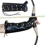 Traditionelle Armschutz mit Fingerschutz aus PU-Leder Armschiene für Bogenschießen in Schwarz Unterarmschütze Armschiene Armschoner Armstulpe geeignet für Traditionelle Bogen, Langbögen, Recurvebögen