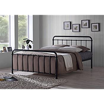 New Traditional Hospital Style 4ft Small Double Black Metal Bed ...