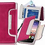 numia Huawei Ascend G6 Hülle, Handyhülle Handy Schutzhülle [Book-Style Handytasche mit Standfunktion und Kartenfach] Pu Leder Tasche für Huawei Ascend G6 Case Cover [Pink-Weiss]