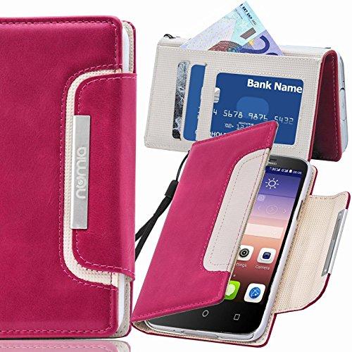 Huawei Ascend G6 Hülle, numia Handyhülle Handy Schutzhülle [Book-Style Handytasche mit Standfunktion & Kartenfach] Pu Leder Tasche für Huawei Ascend G6 Case Cover [Pink-Weiss]