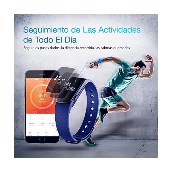 Seneo Fitness Tracker, Reloj Inteligente con Pulsómetro, IP67 Pulsera de Fitness Rastreador de Actividad Monitor de Frecuencia Cardíaca Podómetro Reloj Deportivo IP67 para Hombre Mujer 4