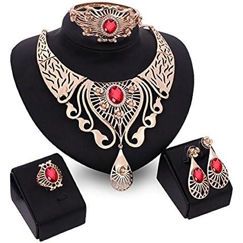 Womens dorato della pietra preziosa collana orecchini