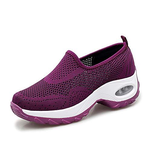 Sneakers Damen Sportschuhe Laufschuhe Bequem Turnschuhe Air Leichte Höhe Erhöhen Mesh Socks Slip On Outdoor Walking Schuhe Schwarz Grau Lila Rot Weiß 35-43 Violett 41