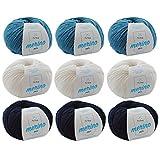 MyOma Wollset XL Merino Mix Wollmix Atlantik XL * Merinowolle Stricken Merino Mix Häkeln und Stricken – Strickgarn Merinowolle Wollset - Blauer Wollmix (9 Knäuel, je 50g/125m)+ Gratis Label