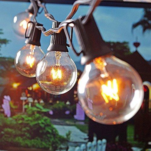 Bulb String Lights, EONANT 25Ft G40 25 Clear Glühbirne String Light für Indoor Outdoor Decor Include (3 Ersatzbirnen) - Watt-kandelaber-sockel Licht Lampen