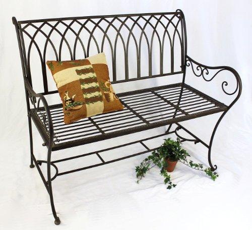 DanDiBo Bank Romina 90507 aus Metall Gartenbank Sitzbank Baumbank 2-Sitzer 110 cm Braun