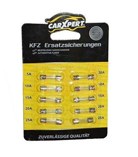 Preisvergleich Produktbild Feinsicherungen Sicherungen Glassicherungen KfZ 10 Stück 10x20mm 1x 5A 2x 10A 2x 15A 2x 20A 2x25A 1x30A (B2)