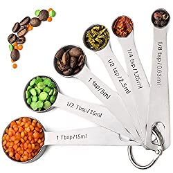 Palada 430 Stainless Steel Measuring Spoons, All in One Set of 6 Professional Spoons, Engraved, Cute Ring Holder, Best Metal. For Dry and Liquid Ingredients. It's Time to Upgrade Your Measuring Set.