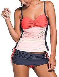 55d2f144a7944 Uranus Damen Farbblock Spaghetti Strap Bandeau Schwimmen Top Skort Tankini  Set Bademode