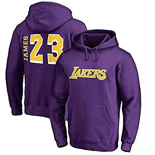 Hdezzz NBA Hoodie LA Lakers James # 23 Herren Jersey Langarm T-Shirt Bedrucktes Kapuzenoberteil Lässig Bequemes Sweatshirt @ XX-Large_Yellow