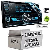 Mercedes C-Klasse W203 - Kenwood DPX-X5000BT - 2DIN Bluetooth USB Autoradio - Einbauset