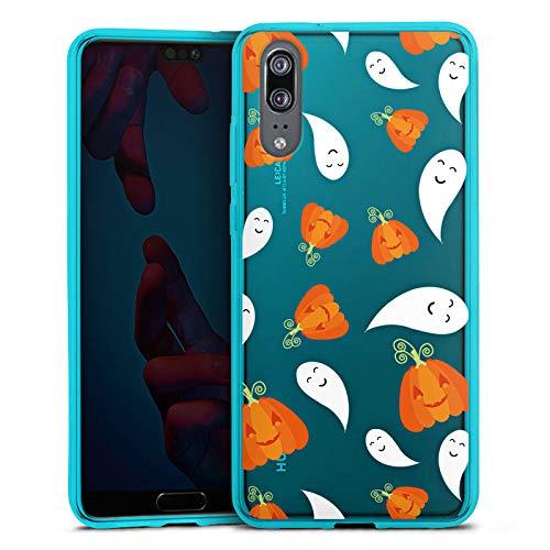 DeinDesign Silikon Hülle transparent hellblau Case Schutzhülle für Huawei P20 Halloween Muster Gruselig
