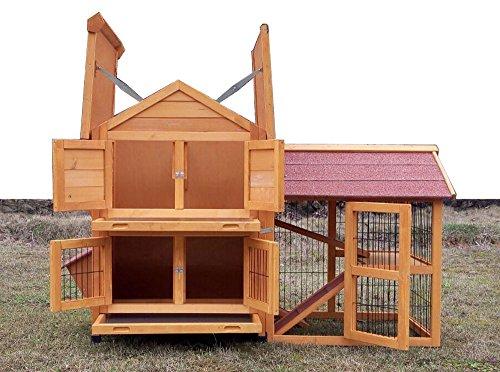 """Kaninchenstall Kleintierhaus Hasenstall Kleintierkäfig Nr. 05 """"De Luxe"""" mit Seitenflügeln - 4"""