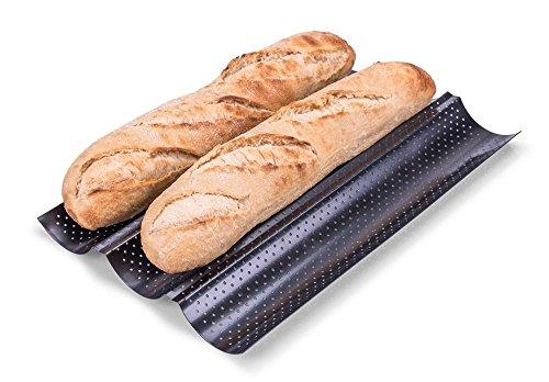 culinario Baguette Backblech, 38 x 24 x 2 cm, aus perforiertem Metall, mit Antihaft-Beschichtung, Profi-Qualität