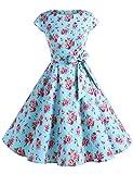 Dressystar Damen Vintage 50er Cap Sleeves Dot Einfarbig Rockabilly Swing Kleider Blau Rot Blume M