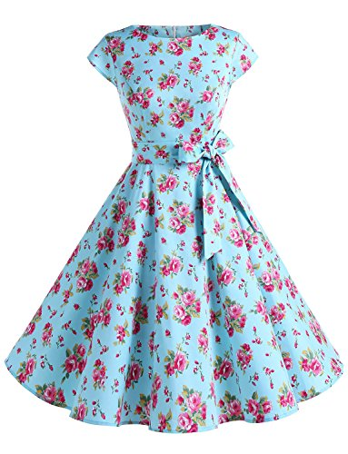 Dressystar Damen Vintage 50er Cap Sleeves Dot Einfarbig Rockabilly Swing Kleider Blau Rot Blume S