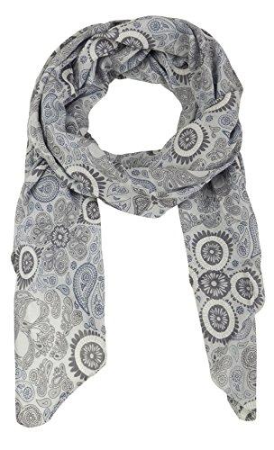 Zwillingsherz Seiden-Tuch für Damen Mädchen Paisley Elegantes Accessoire/Baumwolle/Seiden-Schal/Halstuch/Schulter-Tuch oder Umschlagstuch einsetzbar - grau