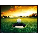 Golf Poster Kunstdruck und Kunststoff-Rahmen - Golfball An Der Loch-Kante (80 x 60cm)